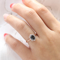 grey spinel ring rose gold cushion salt and pepper diamond ring halo engagement ring la more design jewelry