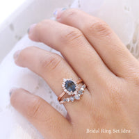 grey spinel ring rose gold oval salt and pepper diamond ring halo engagement ring bridal set la more design jewelry