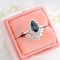 grey spinel ring white gold pear cut salt and pepper diamond ring halo engagement ring bridal set la more design jewelry