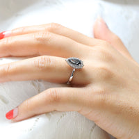 grey spinel ring white gold pear cut salt and pepper diamond ring halo engagement ring la more design jewelry