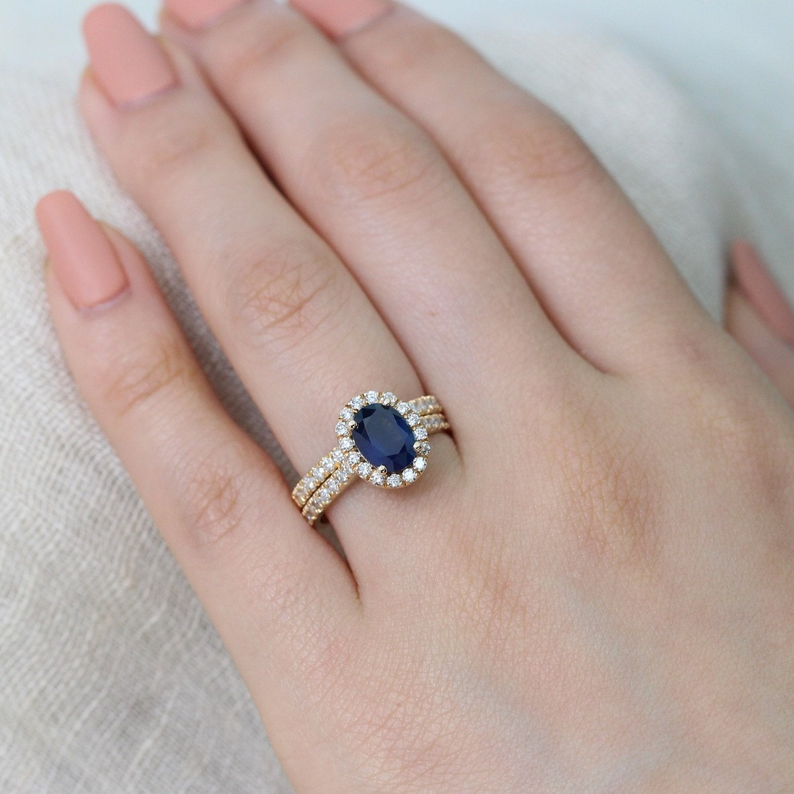 Luna Halo Pave Bridal Set w/ Oval Blue Sapphire and Diamond | La ...