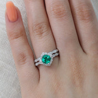 halo diamond emerald engagement ring set white gold scalloped band by la more design