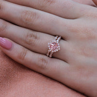 halo diamond peach sapphire ring bridal set in rose gold scalloped band by la more design
