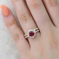 halo diamond ruby engagement ring set yellow gold scalloped band by la more design