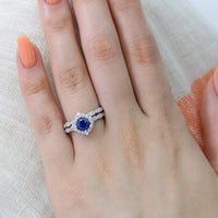 halo diamond sapphire engagement ring set white gold scalloped band by la more design