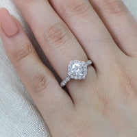 halo diamond moissanite engagement ring in white gold scalloped band by la more design