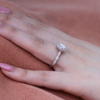 halo forever one moissanite ring white gold scalloped diamond band by la more design