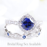 halo diamond blue sapphire ring bridal set in white gold diamond sapphire band by la more design