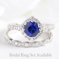 halo diamond blue sapphire ring bridal set in white gold scalloped band by la more design