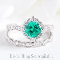halo diamond emerald ring bridal set in white gold scalloped band by la more design