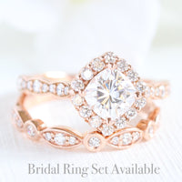 halo diamond moissanite ring bridal set in rose gold scalloped band by la more design