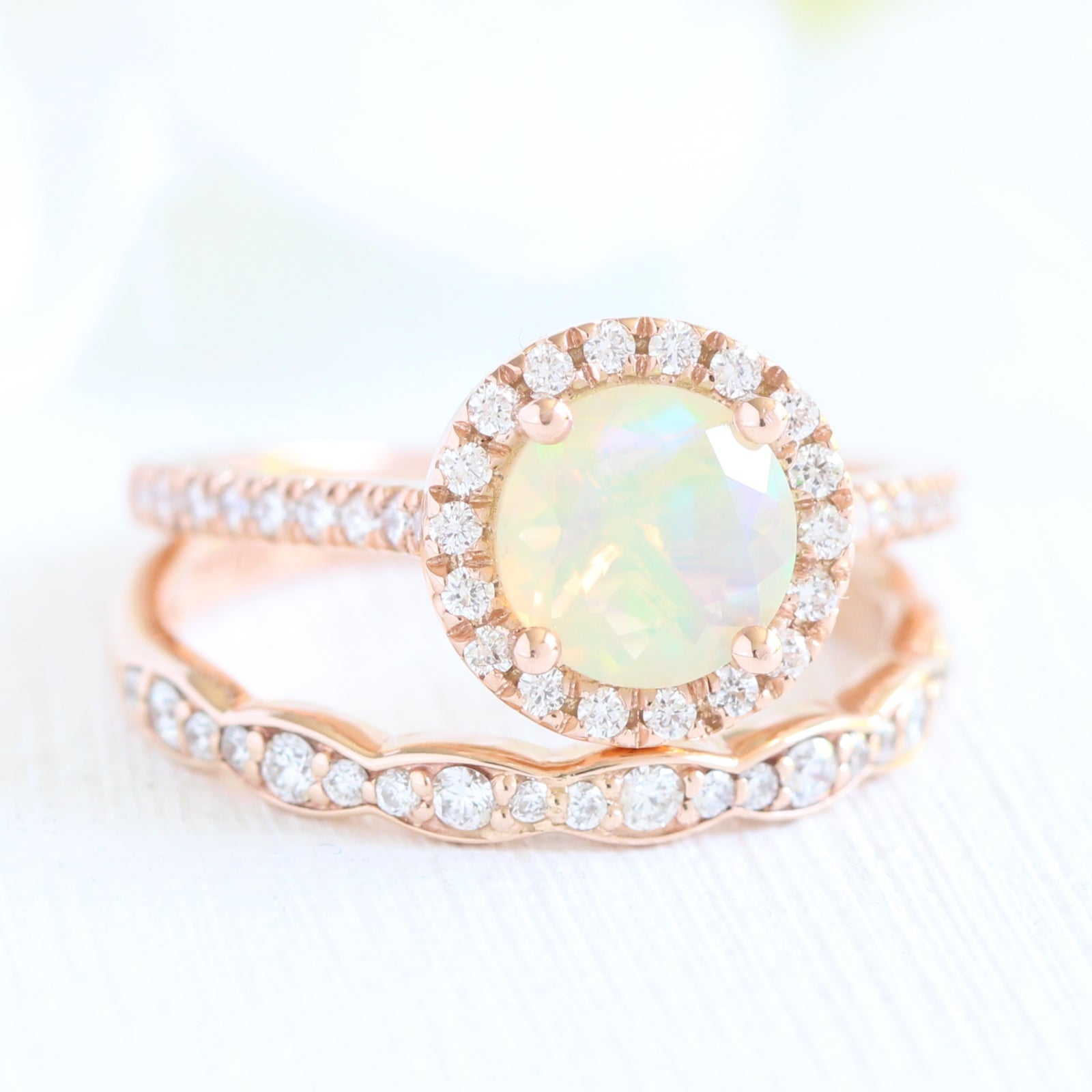 Luna Halo Pave Bridal Set W Round Opal And Scalloped Diamond Band La More Design: Rose Gold Scalloped Diamond Wedding Band At Websimilar.org