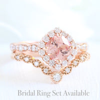 halo diamond peach sapphire ring bridal set in rose gold curved diamond band by la more design