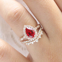 halo diamond pear ruby engagement ring rose gold bridal set curved diamond wedding band by la more design jewelry