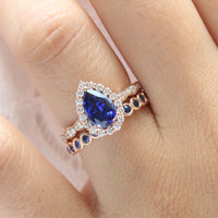 halo diamond pear sapphire engagement ring rose gold bridal set bezel sapphire wedding band by la more design jewelry
