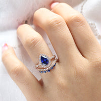 halo diamond pear sapphire engagement ring rose gold bridal set curved diamond wedding band by la more design jewelry