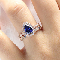 halo diamond pear sapphire engagement ring rose gold bridal set sapphire diamond wedding band by la more design jewelry