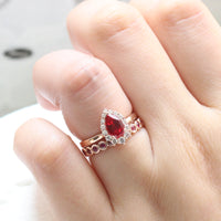 halo diamond ruby engagement ring bridal set rose gold and bezel ruby wedding band by la more design jewelry