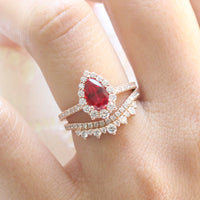 halo diamond ruby engagement ring bridal set rose gold and curved crown diamond wedding band by la more design jewelry