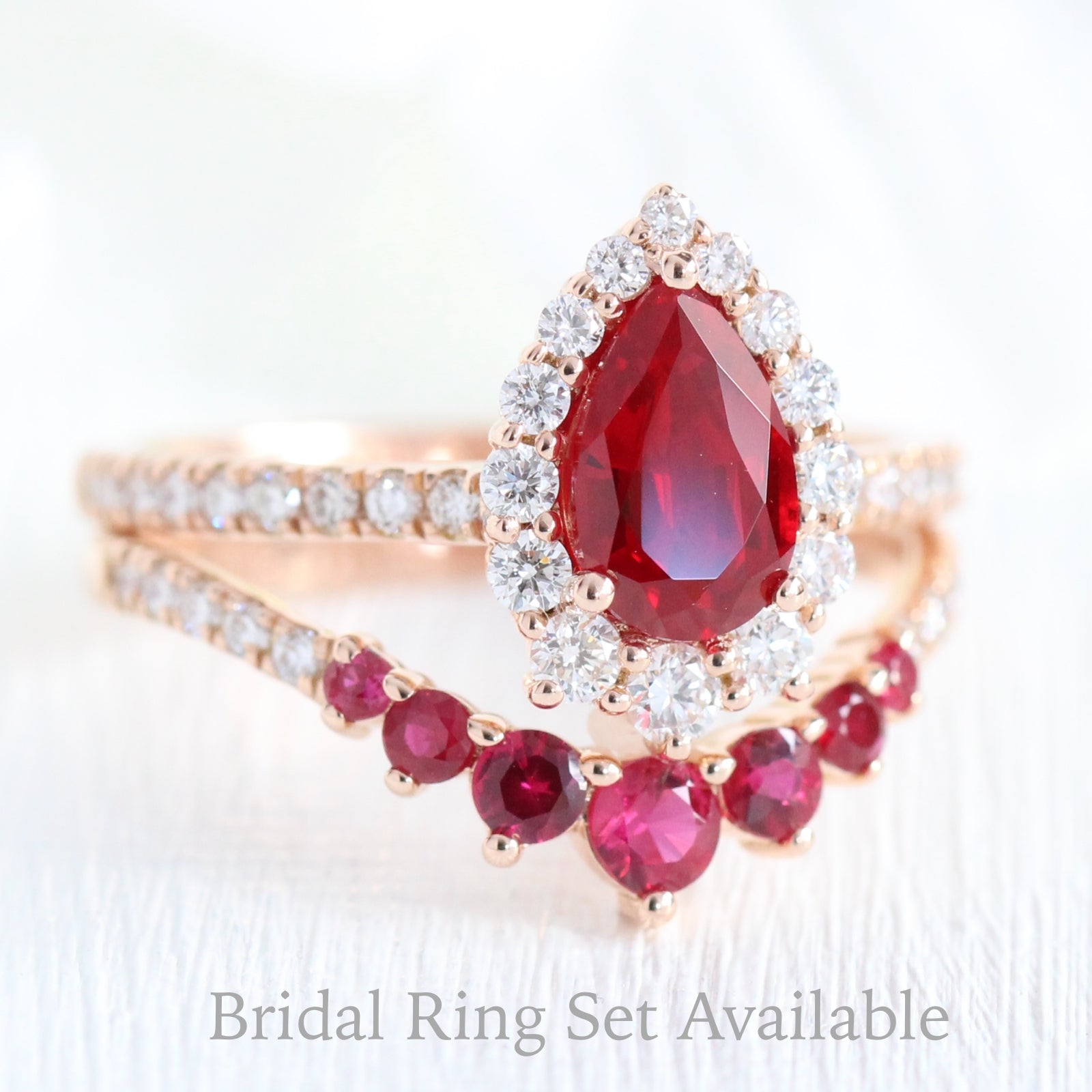 And W Halo Ring In Band Ruby Diamond Pear Tiara Pave mnyw0OvN8