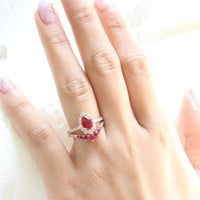 halo diamond ruby engagement ring bridal set rose gold and ruby diamond wedding band by la more design jewelry