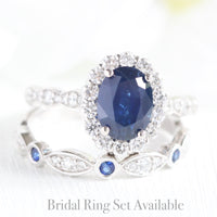 halo diamond sapphire ring bridal set in white gold diamond sapphire band by la more design