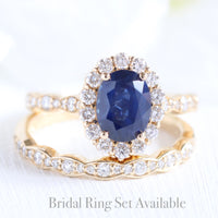 halo diamond sapphire ring bridal set in yellow gold diamond sapphire band by la more design