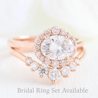 halo diamond ring bridal set and 7 stone curved diamond wedding band in rose gold east west engagement ring by la more design jewelry