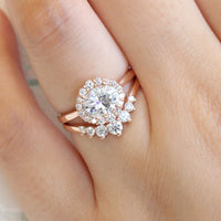 halo ring bridal set and 7 stone diamond band in rose gold east west diamond ring by la more design jewelry