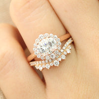 halo ring bridal set and curved crown diamond wedding band in rose gold east west diamond ring by la more design jewelry