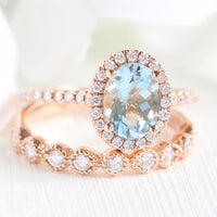 halo diamond aquamarine engagement ring rose gold bridal wedding set la more design jewelry