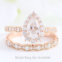 halo diamond pear moissanite engagement ring rose gold bridal set cluster ring la more design jewelry