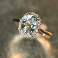 Custom Ceylon Sapphire Halo Diamond Ring in 14k Yellow Gold, Size 7.25