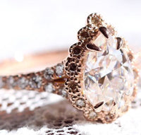 Custom Made Pear Moissanite Engagement Ring in 14k Rose Gold Size 7.75