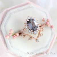 large oval grey spinel ring rose gold halo diamond engagement ring stacking ring bridal set la more design jewelry