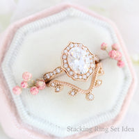 large oval moissanite diamond vintage floral engagement ring rose gold stacking ring bridal set la more design jewelry