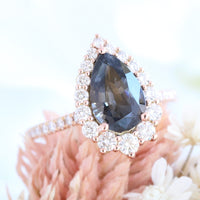 large pear grey spinel ring rose gold halo diamond engagement ring la more design jewelry