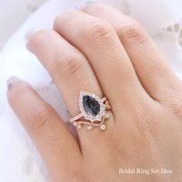 large pear grey spinel ring rose gold halo diamond engagement ring stacking ring bridal set la more design jewelry