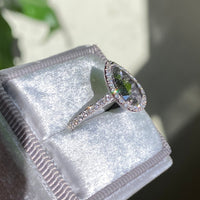 large salt and pepper diamond white gold halo diamond ring