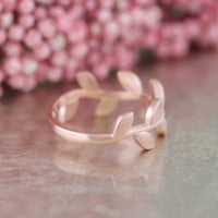 leaf wedding band rose gold by la more design