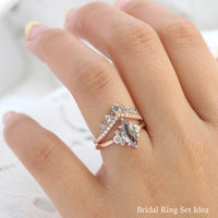 marquise salt and pepper diamond ring rose gold 3 stone ring la more design jewelry