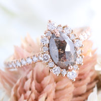 marquise salt and pepper diamond ring rose gold grey diamond halo ring la more design jewelry
