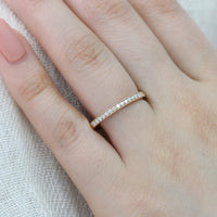 half eternity diamond wedding ring in yellow gold milgrain band by la more design