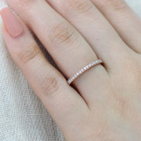 Milgrain Diamond Wedding Ring in 14k Rose Gold Half Eternity Band, Size 7