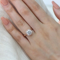 rose gold halo diamond moissanite engagement ring by la more design