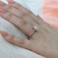 moissanite engagement ring rose gold halo diamond pear ring by la more design
