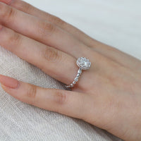 moissanite floral engagement ring white gold pebble diamond band by la more design