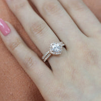 moissanite floral ring wedding set rose gold milgrain diamond band by la more design