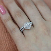 cushion moissanite ring bridal set in white gold vintage inspired diamond band by la more design
