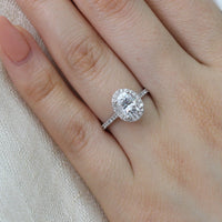 moissanite halo engagement ring white gold oval diamond band by la more design